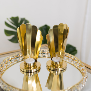 Pair of Gold Deco Tealight Holders