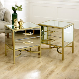 Pair of Gold Mirrored Bedside / Occasional Tables - Venus Range