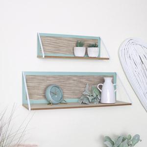 Pair of Green & White Wooden Shelves