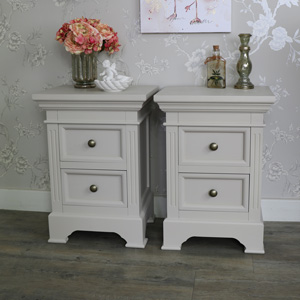 Pair of 2 Drawer Bedside Chest Cabinets - Daventry Taupe-Grey Range