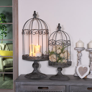 Pair of Grey Domed Metal Birdcage Lanterns