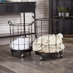 Pair of Industrial Storage Baskets on Wheels