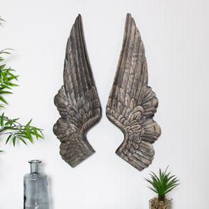Pair of Large Antique Gold Angel Wings Wall Decoration