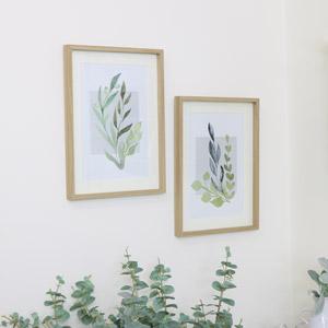 Pair of Large Framed Botanical Leaf Wall Prints
