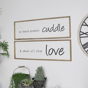 Pair of Large Wooden Love Plaques