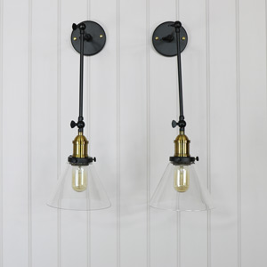 Pair of Long Arm Industrial Wall Lights with Glass Shade