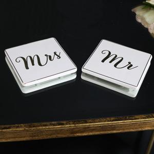 Pair of Mr & Mrs White Ceramic Coasters