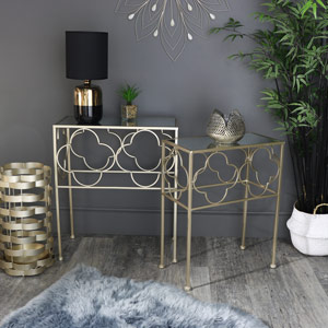 Pair of Ornate Gold Mirrored Side Tables