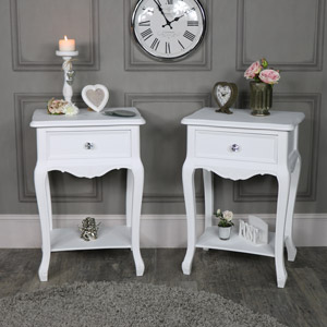 Pair of Ornate White 1 Drawer Bedside Lamp Tables - Elise White