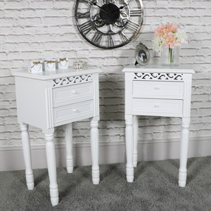 Pair of Ornate White 2 Drawer Bedside Table - Blanche Range