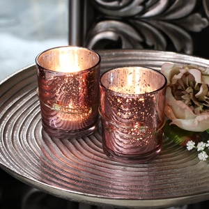 Pair of Pink Glass Tealight Candle Holders