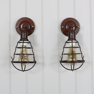 Pair of Rustic Industrial Caged Wall Lights
