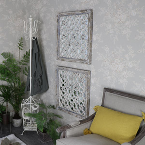 Pair of Rustic Ornate Wall Mirrors 65cm x 65cm