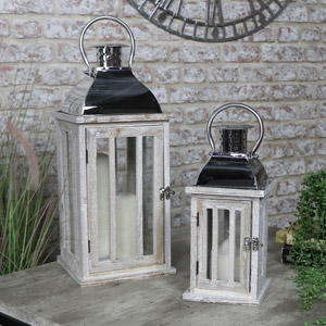 Pair of Rustic Wooden Candle Lanterns