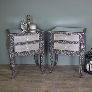 Pair of Embossed Mirrored Bedside Lamp Tables - Monique Range
