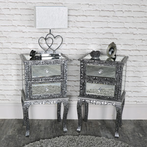 Pair of Silver Embossed Mirrored Slim Bedside Table - Monique Range