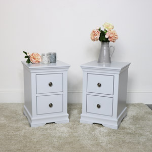 Pair of Slim Bedside Tables - Newbury Grey Range