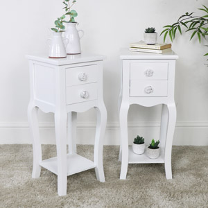 Pair of Slim White 2 Drawer Bedside Table - Lila Range