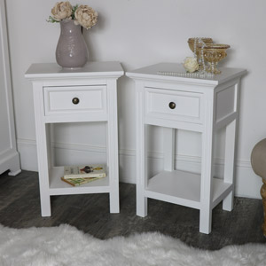 Pair of Slim White Side Tables - Daventry White Range