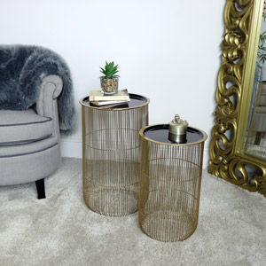 Pair of Tall Black & Gold Wire Side Tables with Basket Storage