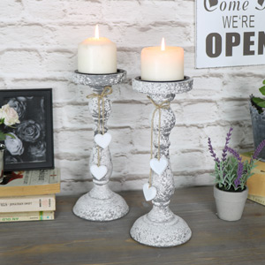 Pair of Vintage Grey Candle Holders