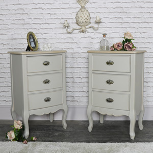 Pair of Vintage Grey Three Drawer Bedside Chests - Albi Range