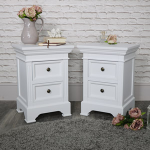 Pair of White Two Drawer Bedside Chest - Daventry White Range SECONDS ITEM