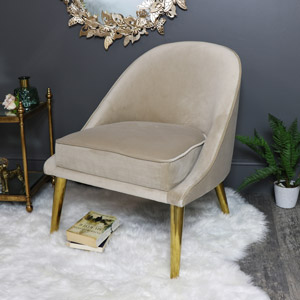Pale Cream Velvet Upholstered Occasional Chair