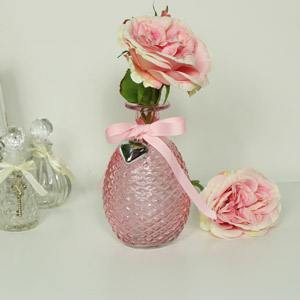 Pale Pink Decorative Glass Bottle Vase