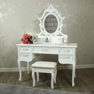 Pays Blanc Range - Antique White Dressing Table, Ornate Mirror and Stool
