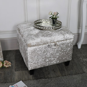 Pearl White Crushed Velvet Storage Stool/Pouffe