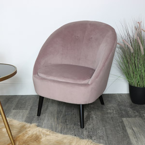 Pink Accent Chair - Velvet Upholstered Furniture