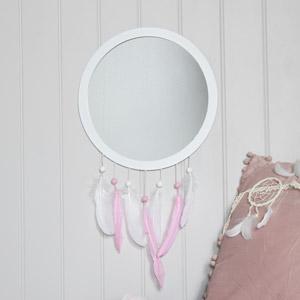 Pink Feather Dreamcatcher Wall Mirror