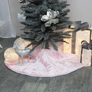 Pink Fur Christmas Tree Skirt