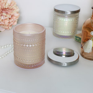 Pink Glass Candle Pot - Peony & Silk