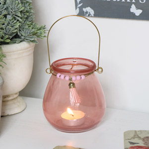 Pink Glass Tealight Candle Holder