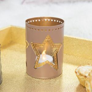 Pink & Gold Star Tealight Holder