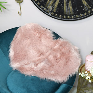 Pink Heart Shaped Faux Fur Throw