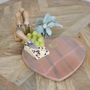 Pink Marble Heart Chopping Board