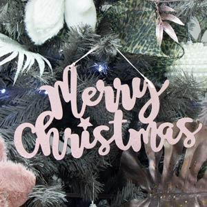 Pink Metallic Merry Christmas Sign