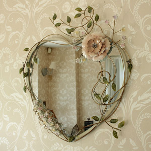 Ornate Pink Rose Heart Shaped Metal Wall Mirror