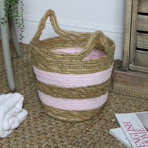 Pink Seagrass Basket - Medium