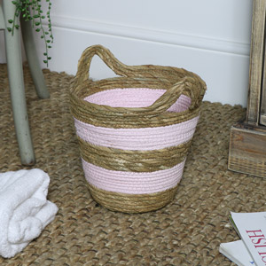 Pink Seagrass Basket - Small