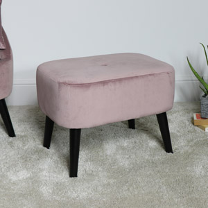 Pink Velvet Footstool with Black Legs