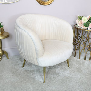 Beige Velvet Pleated Chair with Gold Legs
