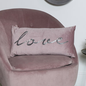 Pink Velvet Sequin Cushion