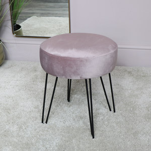 Pink Velvet Stool with Black Hairpin Legs