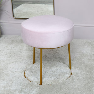 Pink Velvet Stool with Round Gold Base