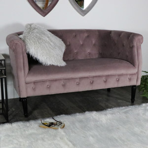 Pink Velvet 2 Seater Sofa **DAMAGED SECONDS ITEM**