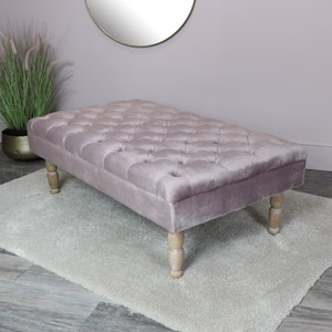 Pink Velvet Upholstered Bench